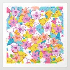 Digital spring flowers behind grid Art Print