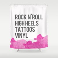 tattoos Shower Curtains featuring Rock n Roll, High Heels, Tattoos and Vinyl  by flourish and hope