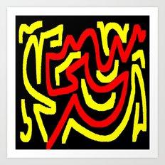 Black yellow red Art Print