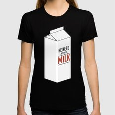 He Need Some Milk Womens Fitted Tee Black MEDIUM