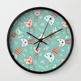 Kokeshi Kitties with Teal Background Wall Clock