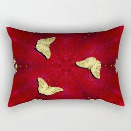 gold butterflies and flowers on red kaleidoscope Rectangular Pillow