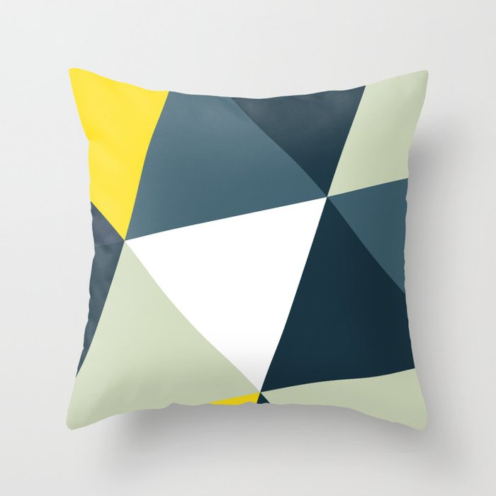 Navy Triangle  Throw Pillow