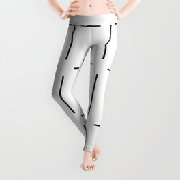 Block Print Simple Squares in Black & White Leggings