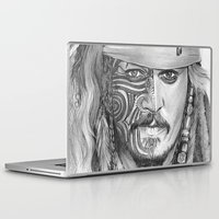 jack sparrow Laptop & iPad Skins featuring JACK SPARROW with POLYNESIAN TATOO by Nyko PK16