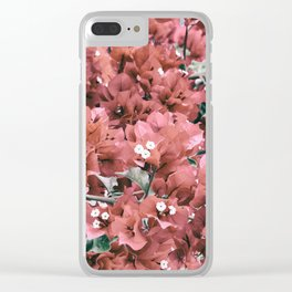 Coral Flowers Pattern Clear iPhone Case