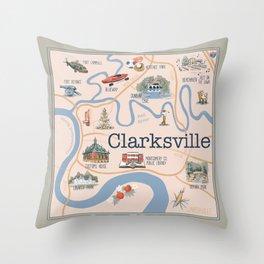 Clarksville TN Illustrated Map Throw Pillow