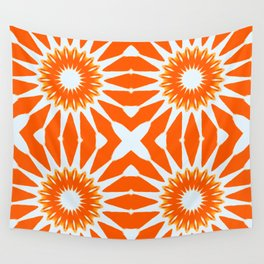 Orange Pinwheel Flowers Wall Tapestry