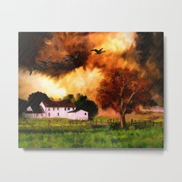 Watercolor Farm Sunset (Color) Metal Print