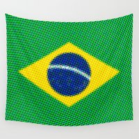 brazil Wall Tapestries featuring Pop Brazil Flag by RSG514