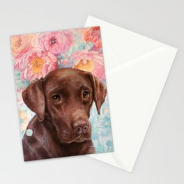 Flowers and Chocolate (chocolate lab dog watercolor portrait painting) Stationery Cards
