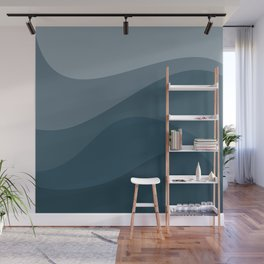 Abstract Color Waves - Blue Palette Wall Mural