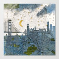 san francisco map Canvas Prints featuring San Francisco skyline old map by Paula Belle Flores