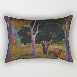 "Paul Gauguin ""Landscape with a Pig and a Horse (Hiva Oa)"" Rectangular Pillow"