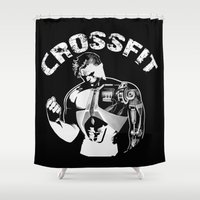 crossfit Shower Curtains featuring Crossfit by Line Jenssen