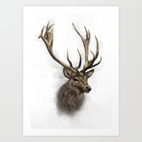stag Art Prints featuring stag by emegi