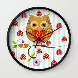Valentine's day owl with hearts Wall Clock