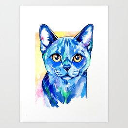 Cat - British Blue Portrait Art Print
