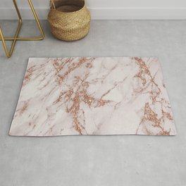 Abstract blush gray rose gold glitter marble Rug
