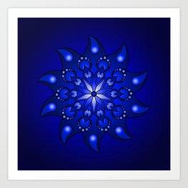 Extreme blue mandala Art Print