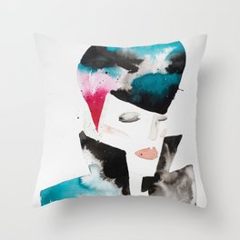 Color-bleed Portrait of a Rocker Throw Pillow