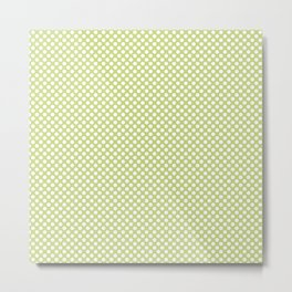 Daiquiri Green and White Polka Dots Metal Print