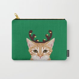 Tabby Cat Reindeer costume christmas holiday winter cat clothes cute cat lady gift idea for holidays Carry-All Pouch