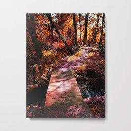 Wooden Bridge in the Autumn Woods Metal Print