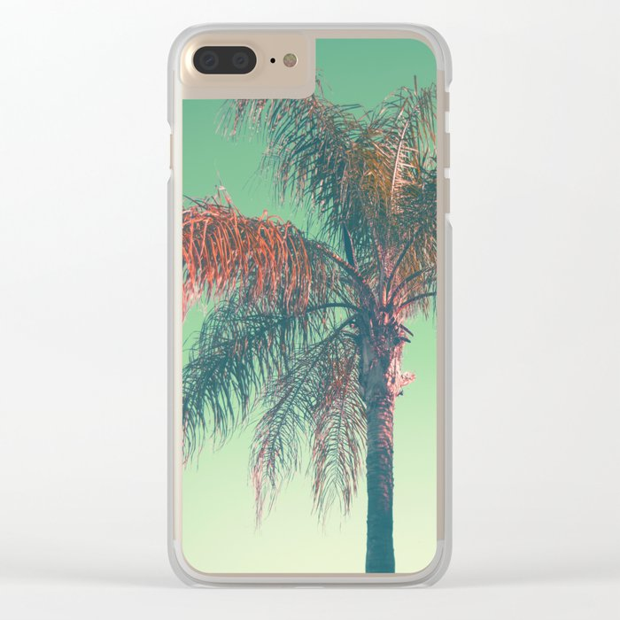 Red palm tree Clear iPhone Case