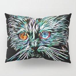 Odd-Eyed White Glowing Cat Pillow Sham