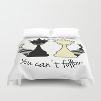 feminism Duvet Covers featuring Chess Game Women Power - Feminism by La Gata Venenosa