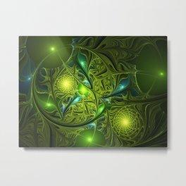 Mysterious Green Lights, abstract Fractal Art Metal Print