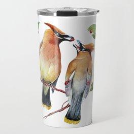 Cedar Waxwing Love Travel Mug