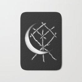 Crescent Moon Rune Binding in Black Bath Mat