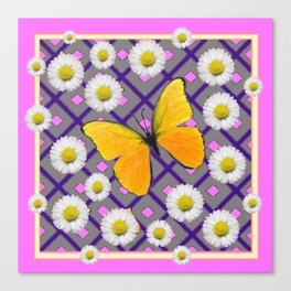 Yellow Butterfly on Lilac-pink Shasta Daisy Grey Abstract Pattern Canvas Print