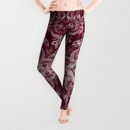 Dark cherry red dirty denim textured boho pattern Leggings