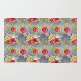 Red watercolor flowers seamless pattern, floral print Rug