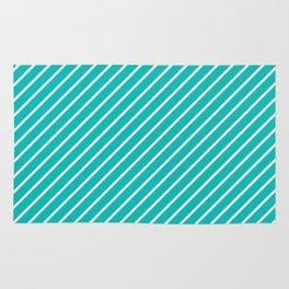 Diagonal Lines (White/Tiffany Blue) Rug