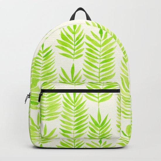 Watercolor tropical leaves in green Backpack