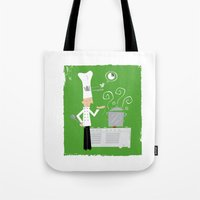 chef Tote Bags featuring Cuckoo Chef by Marcelo Badari