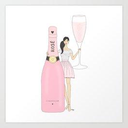 Rose Champagne Fashion Girl Black Hair Art Print