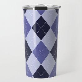 Blue Argyle Pattern Travel Mug