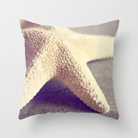 starfish Throw Pillows featuring Starfish by Dena Brender Photography