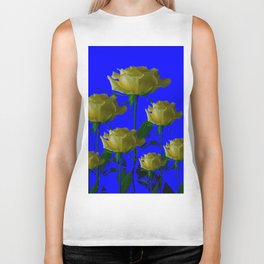 IVORY WHITE LONG STEMMED ROSES ON BLUE Biker Tank