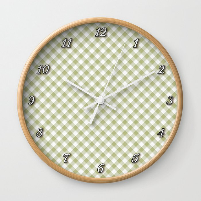 Cactus Garden Gingham 1 Wall Clock