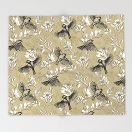 Flowers and Flight in Monochrome Golden Tan Throw Blanket