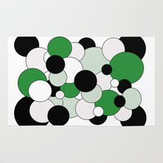 Bubbles - green, black, gray and white Rug