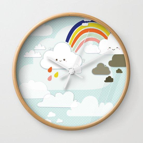 Cute clouds & rainbow Wall Clock