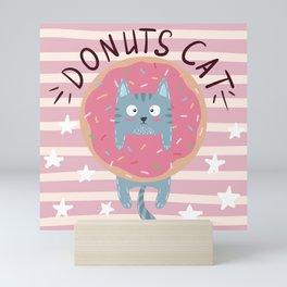 Funny Cute Donuts Cat Mini Art Print