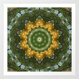 Yellow Tree Flower Kaleidoscope Art 1 Art Print